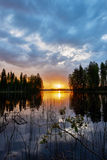 Sunset over a finnish lake Royalty Free Stock Photos