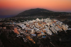 Sunset over Fira, Santorini Royalty Free Stock Photography