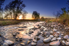 Sunset Over Fish Creek Provincial Park in Calgary Stock Photo