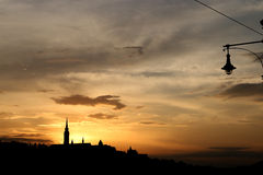 Sunset over Fisherman bastion Stock Photo