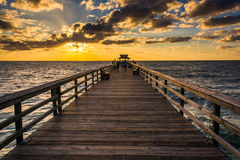Sunset over the fishing pier in Naples, Florida. Royalty Free Stock Image
