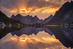 Sunset over fjord in Norway. Lofoten Islands Royalty Free Stock Photos