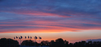 Sunset over the Flag Plaza, New Jersey. Panoramic view. Stock Photos