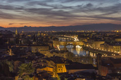 Sunset over Florence Ponte Vecchio Royalty Free Stock Photography