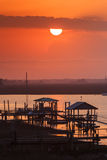 Sunset over Folly River Marina near Charleston South Carolina SC Royalty Free Stock Photography