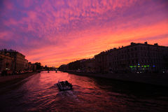 Sunset over the Fontanka. Stock Photos
