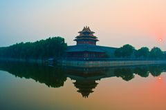 Sunset over the  Forbidden City. Royalty Free Stock Photos