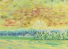Sunset over the forest in the countryside. Oil painting. Sunset over the forest in the countryside. Village house near the field. The atmosphere of appeasement stock illustration