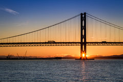 Sunset over the Forth Road Bridge Stock Images
