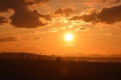 Sunset over the Forth Road & Rail Bridges. As seen from Carlton Hill in Edinburgh Royalty Free Stock Image