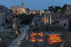 Sunset over Forum Romanum Fori Romani ancient site of antique city of Rome near Palatino hill royalty free stock photos