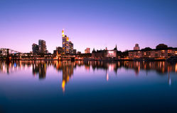 Sunset over Frankfurt skyline Royalty Free Stock Images