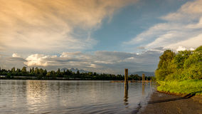 Sunset over the Fraser River near Fort Langley Stock Photography