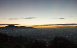 Sunset over Freiburg, Germany Royalty Free Stock Photos