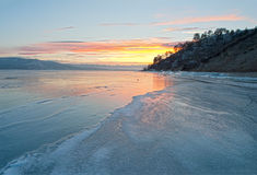 Sunset over frozen lake, hdr image Stock Photo