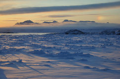 Sunset over frozen sea, Greenland. Arctic landscape during winter, Greenland Stock Images
