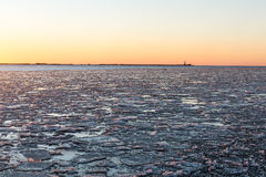 Sunset over frozen sea Royalty Free Stock Images