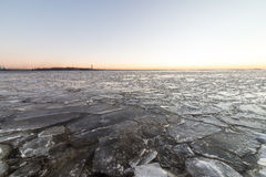 Sunset over frozen sea Royalty Free Stock Photography