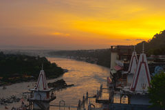 Sunset over Ganges river Royalty Free Stock Photo