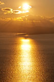 Sunset over Ganzirri. A sun in the dusk is falling on Ganzirri (Straits of Messina Stock Photo