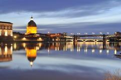 Sunset over Garonne river stock image