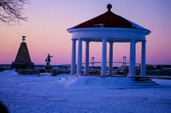 Sunset over gazebo Royalty Free Stock Photos