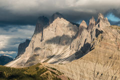 Sunset over Geisler group mountains in Dolomites Stock Images