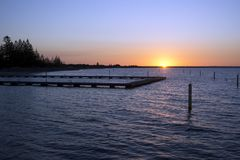 Sunset over Geographe Bay viewed from Jetty, Busselton, WA, Australia. Sunset over Geographe Bay viewed from Jetty, Busselton, Western Australia, Australia stock photos