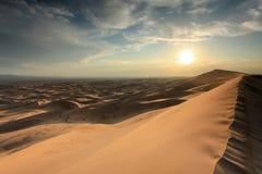 Sunset over the Gobi desert, dune Hongoryn, Mongolia Stock Photo