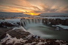 Sunset over Godafoss waterfall in Iceland. royalty free stock photo