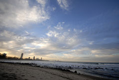 Sunset over gold coast beach Royalty Free Stock Photography