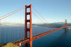Sunset  over Golden Gate Bridge. Taken from Sausalito side of the bay Royalty Free Stock Photography