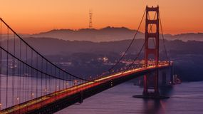 Sunset over Golden Gate Bridge, San Francisco, California