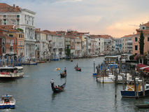 Sunset over Grand Canal. Scenic sunset over Grand Canal in city of Venice, Veneto, Italy Stock Photos