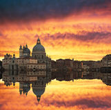 Sunset over Grand Canal in Venice Royalty Free Stock Photos
