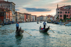 Sunset over the Grand Canal in Venice Royalty Free Stock Photo