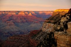 Sunset over the Grand Canyon in Arizona Royalty Free Stock Images