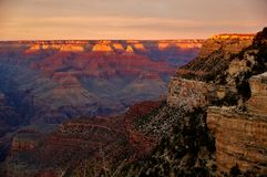Sunset over the Grand Canyon in Arizona Royalty Free Stock Photography