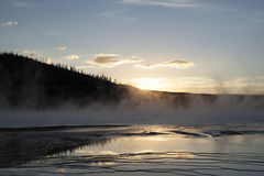 Sunset over grand prismatic springs in Yellowstone Royalty Free Stock Photo
