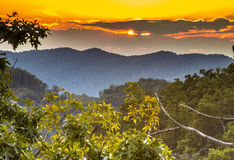 Sunset over Great Smoky Mountains Royalty Free Stock Photography