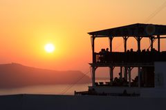 Sunset over the greece islands Stock Photography