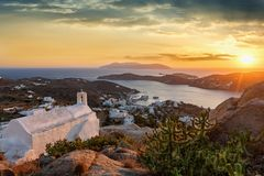 Sunset over the Greek island of Ios stock photo