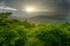 Sunset over green hills, sunny landscape Stock Photography