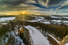 Sunset over Grodno Castle in Owl mountains. Poland Royalty Free Stock Photo