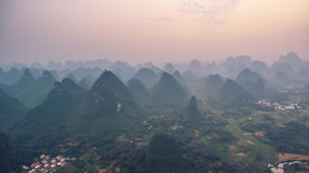 Sunset over Guilin Mountains Royalty Free Stock Photography