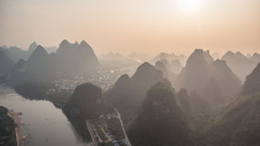 Sunset over Guilin Mountains Stock Photos