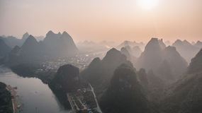 Sunset over Guilin Mountains Royalty Free Stock Images