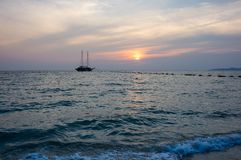 Sunset over Gulf of Thailand Royalty Free Stock Photo
