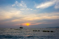 Sunset over Gulf of Thailand Stock Image