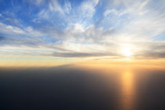 Sunset over the Gulf (view from plane). Royalty Free Stock Photos